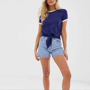 NWT ASOS Blue White Tie Front Tee Shortsleeve Top